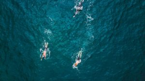 novice swimmer in sea