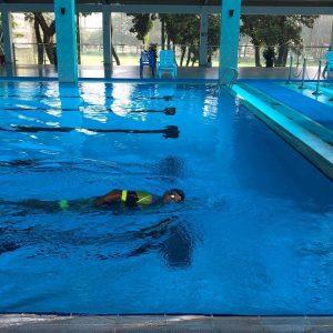 novice swimmer me in a pool