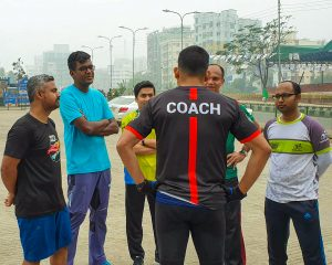 running camp with trainees